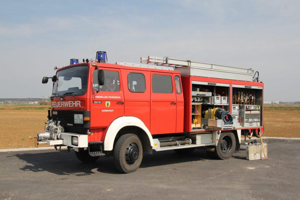 Das Fahrzeug führt auch einen Wassersauger mit.